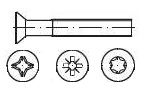 Vis à tête fraisée  DIN 965 - ISO 7046 H, Z, Torx