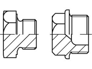 Bouchons filetés à tête hexagonale et embase, Din 7604 forme A