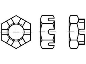 Ecrou hexagonal à créneaux forme basse DIN 937