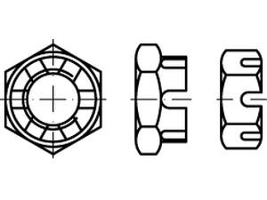 Écrou hexagonal à créneaux bas métrique DIN 979