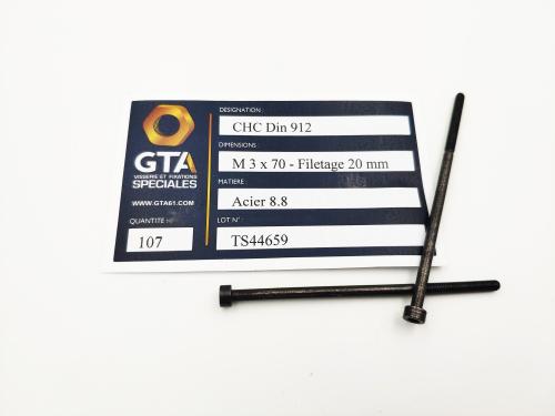 CHC Din 912 Acier 8.8 M 3 x 70 Fileté 20 -GTA