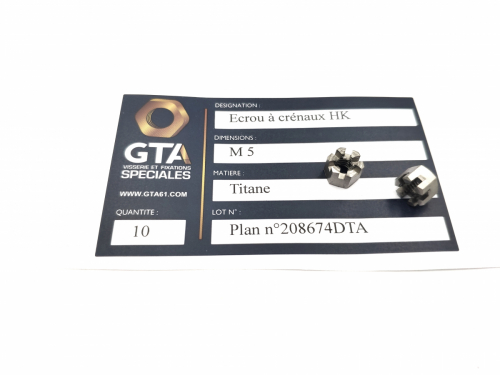 Ecrou à crénaux - Titane -GTA