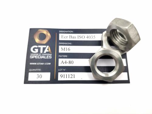 Ecrou bas ISO 4035 A4-80 -GTA