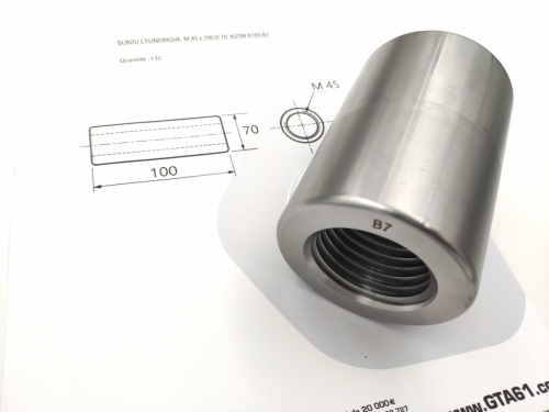 Ecrou cylindrique ASTM A193 B7 -GTA