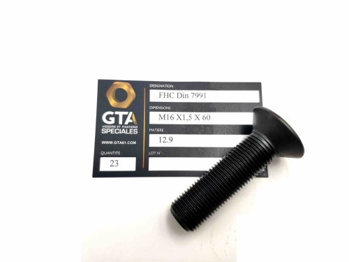 FHC Din 7991 pas fin acier 12.9 -GTA