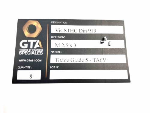 Micro vis vis sans tête Titane Grade 5 -GTA