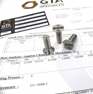 Countersunk head screw ISO 2009 Sanicro 28 -GTA