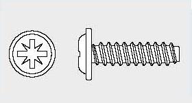 Vis tôle tête cylindrique à embase pozi BS 4174 - pointe type F